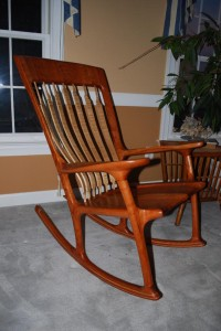 Completed cherry and curly maple rocker